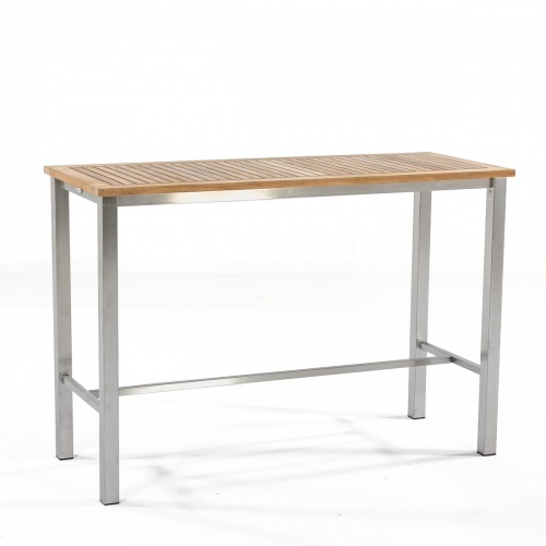 wood and stanless steel bar table rectangular