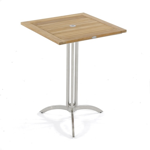wood and stanless steel bar table