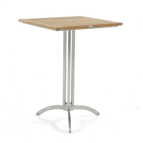 vogue teak and stainless steel bar table square