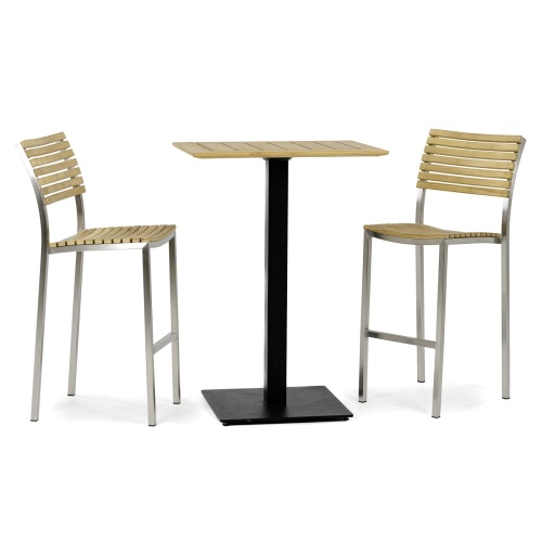 westminster teak and stainless steel bar set