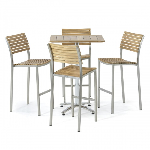 vitage teak stainless steel bar set