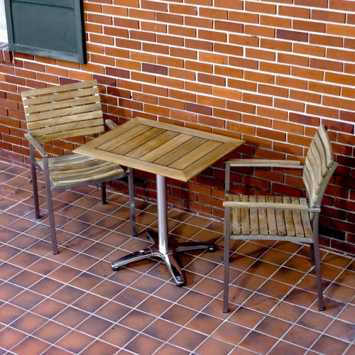 outdoor 3 pc teak and stanless bistro sets