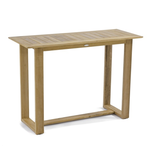rectangular teakwood bar table