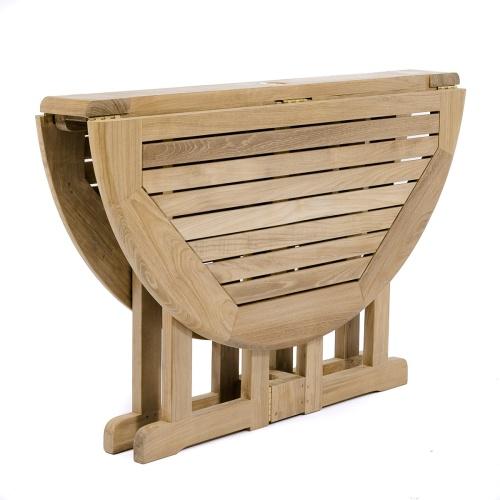 teak round drop leaf folding table