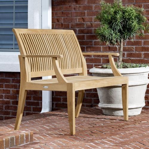 outdoor wooden teak garden bench