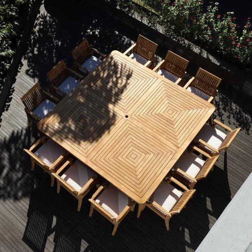 square veranda arm chair set for 12