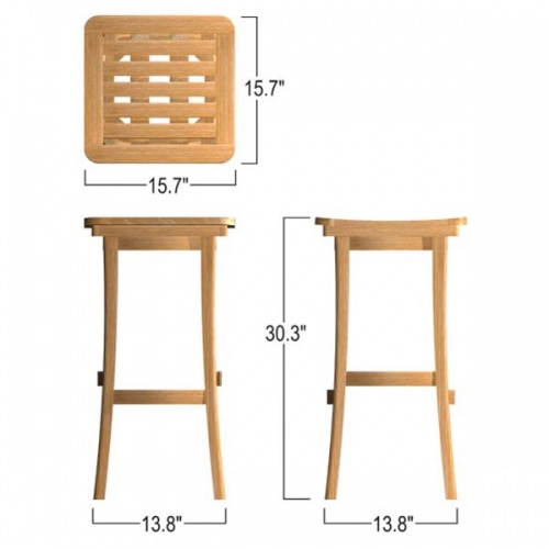 Indoor or outdoor teak barstools