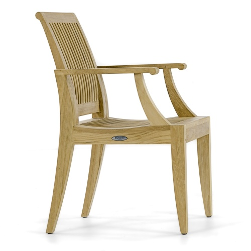 solid teakwood dining chair outdoors