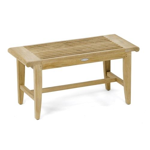 outdoor wooden shower bench