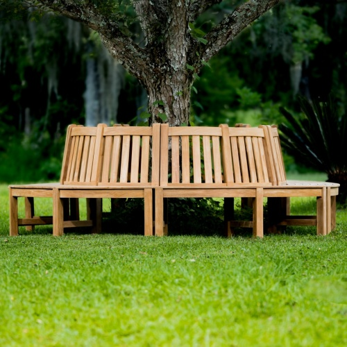 teak wrap around tree bench