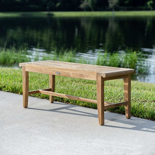 48 teak backless bench