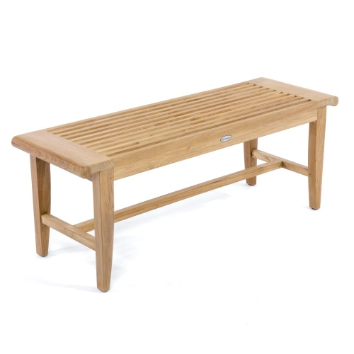teak slatted backless bench