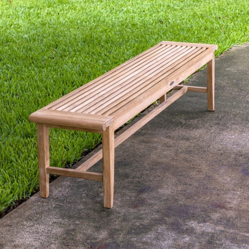 long teak outdoor backless benches
