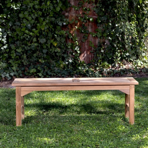 solid teak 5 foot backless bench