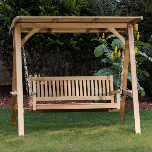 wooden swing benches