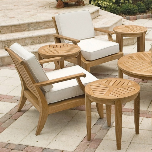 teakwood end tables outdoors