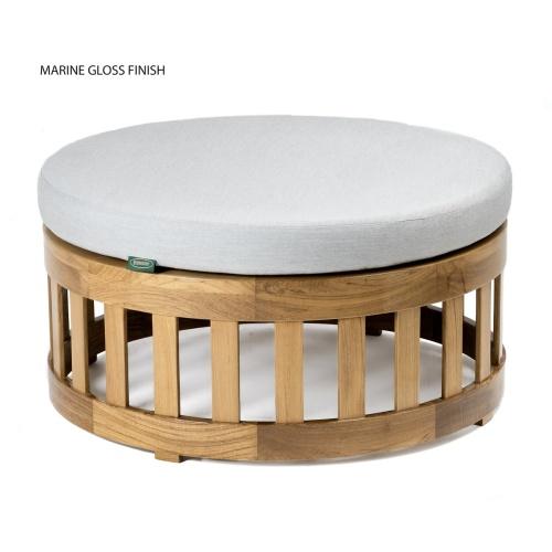 teak wooden round ottoman footstool