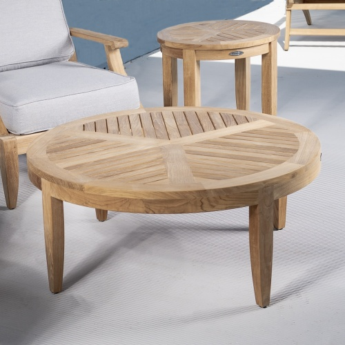 teak wooden round coffee table