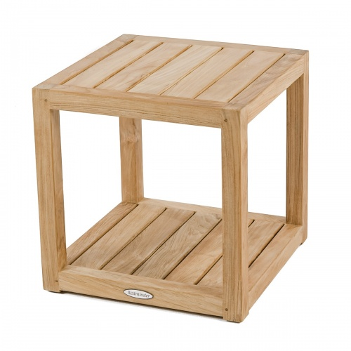 square cube teak shelf