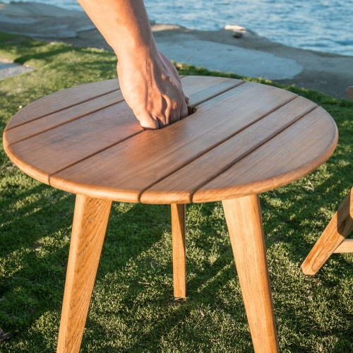 great teak modern outdoor side table