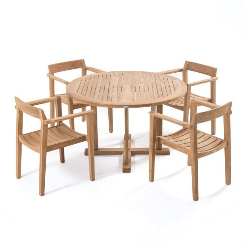 "48"" teak round table"