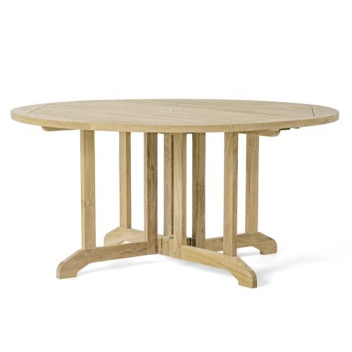 teakwood foldable round table