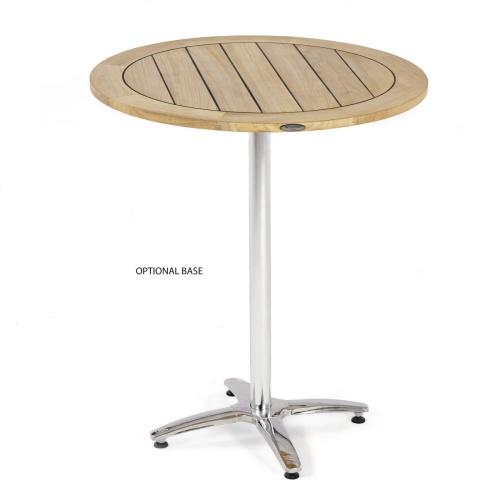 high teak round cafe table