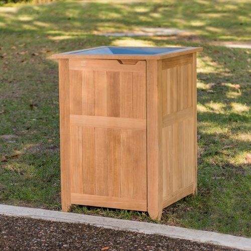 teak outdoor trash receptacle