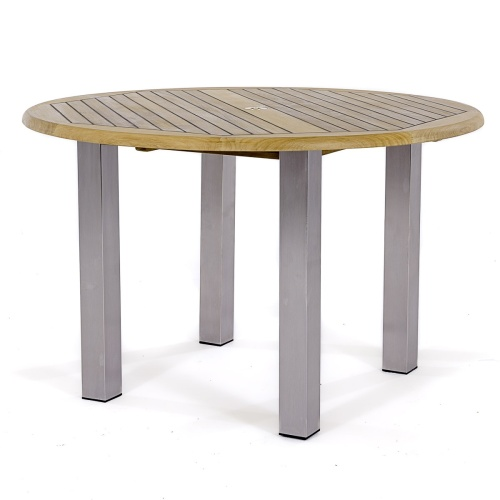 round 4 foot teak and stainless steel table with chairs