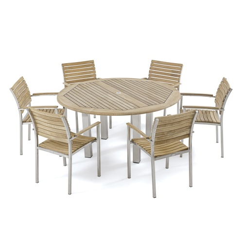 marine teak stainless steel round set for 6