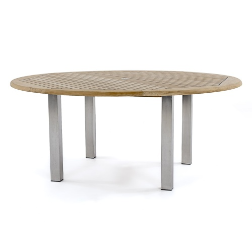 72 round teak dining table
