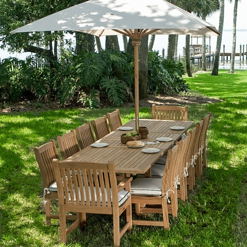 teak table with umbrella