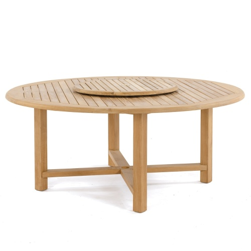 large teak round table with lazy susan