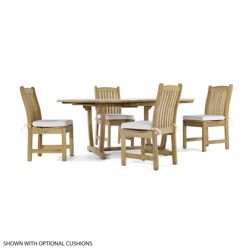 oval teak table and side chairs set 4