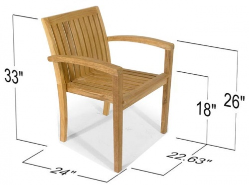 teak stacking dining chair outdoors