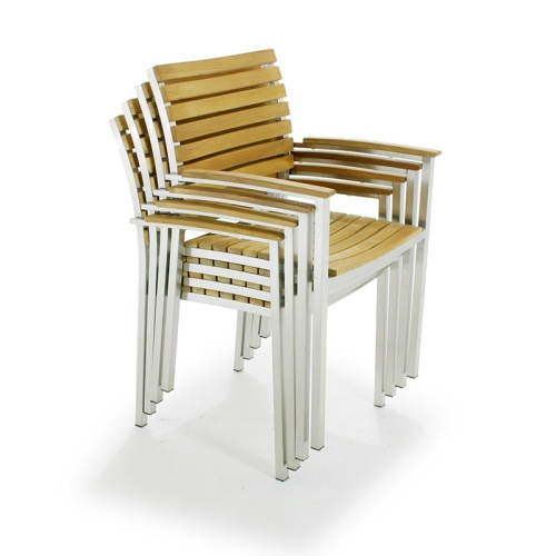 stacking armchair with stainless steel and wood