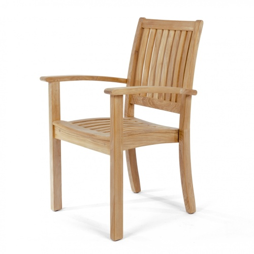 conventional teak stacking armchairs