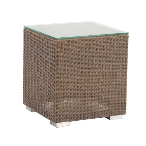 side table with wicker and aluminum frame
