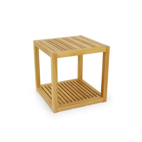 two shelf side table teak