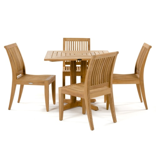 wooden teak outdoor bistro table with side chairs