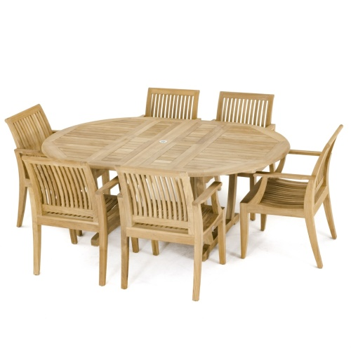 teakwood oval dining set for 6