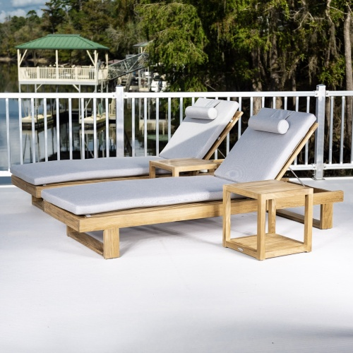 double teak chaise lounger set