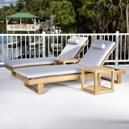double teak chaise lounger set