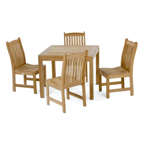 square wooden teak dining set