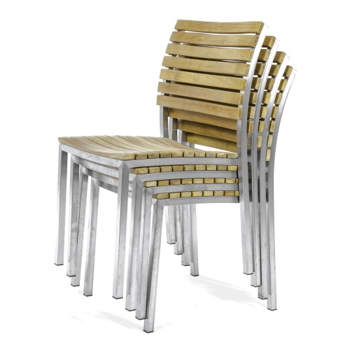 stainless steel and teak wood stacking chairs
