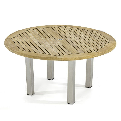 sealed teak teak and stainless steel round table