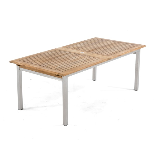 teak and stanless extendable dining room table