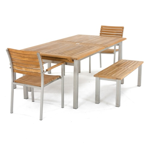 teak and metal picnic table benches and armchairs