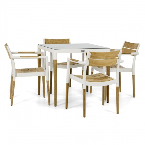 teak aluminum outdoor table set