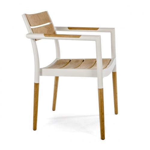 Powder Coated Aluminum Teak Dining Chair